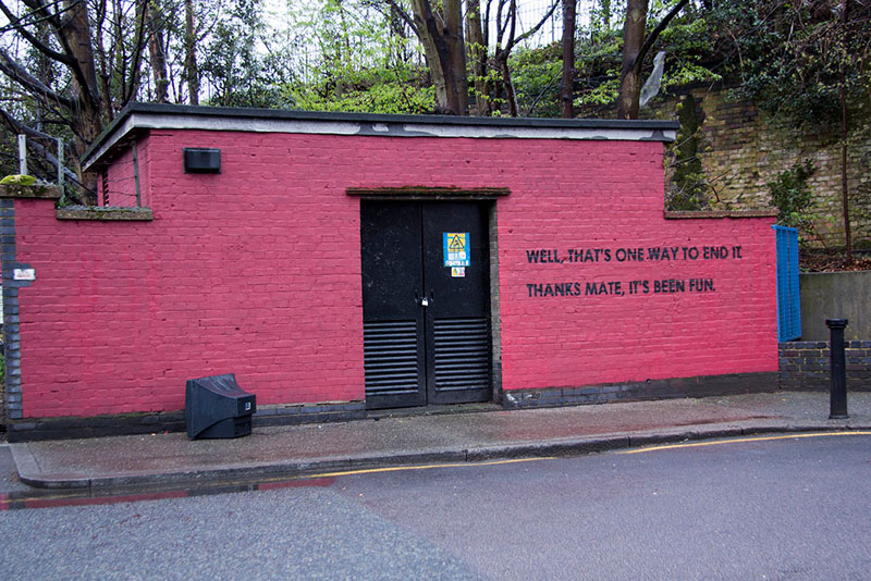 Street Artist mobstr and City Worker Have Year Long Exchange on Red Wall in London (29)