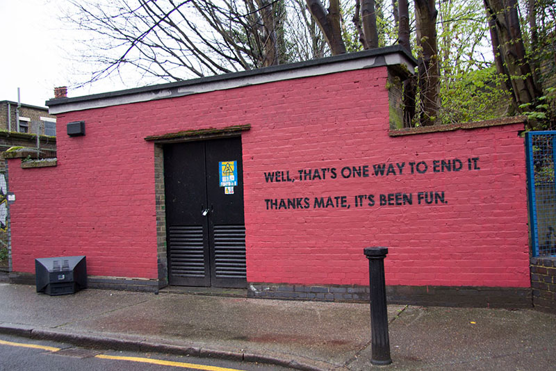 Street Artist mobstr and City Worker Have Year Long Exchange on Red Wall in London (30)