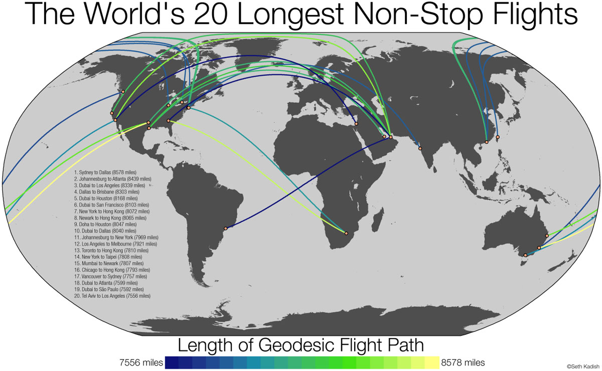 the 20 longest non stop flights in the world 32 Maps That Will Teach You Something New About the World