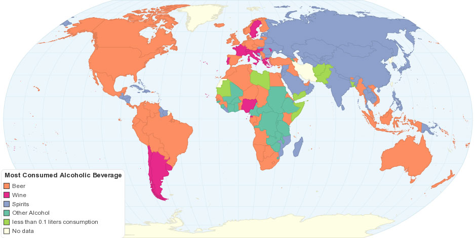 the most consumed alcoholic beverage by country 32 Maps That Will Teach You Something New About the World