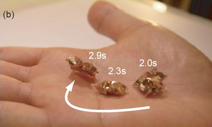 Tiny Self-Folding Origami Robot Can Walk Swim and Degrade (7)
