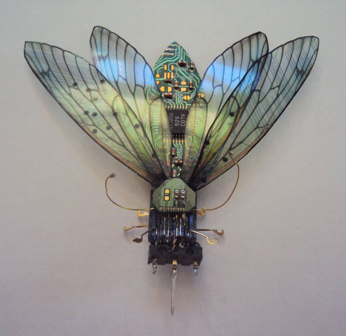 winged insects made from discarded electronics (11)