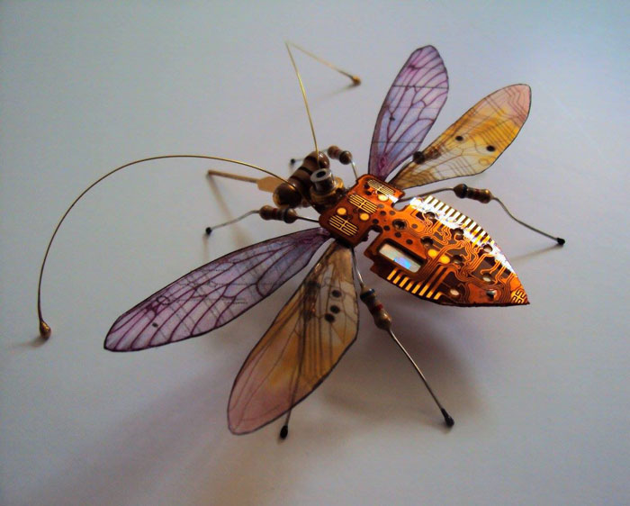 winged insects made from discarded electronics (3)