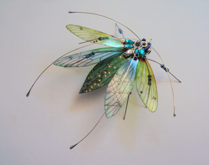 winged insects made from discarded electronics (6)