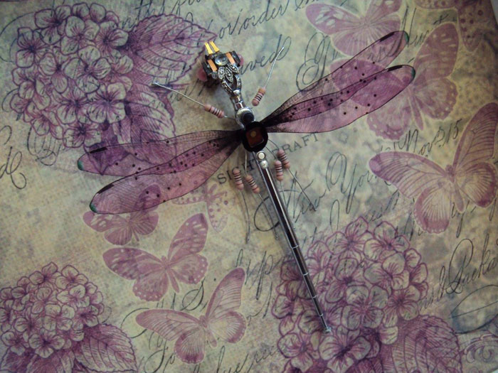 winged insects made from discarded electronics (8)