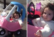 Dad Busts Daughter for Drinking and Driving in Her Toy Car