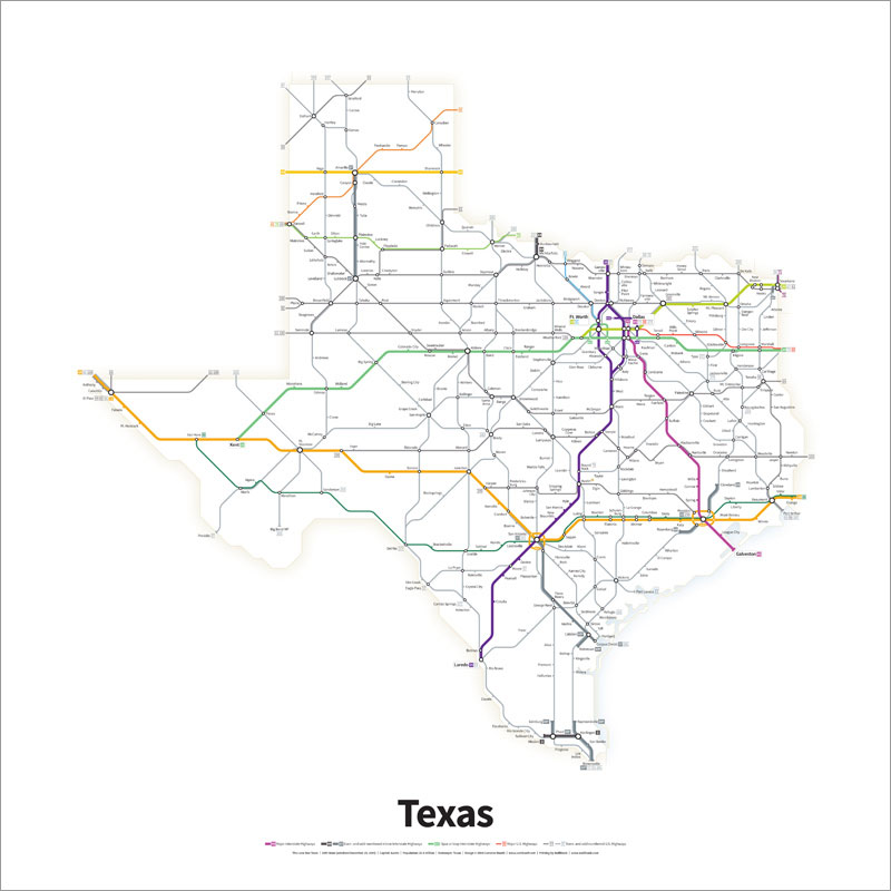 Every US Highway Drawn in the Style of a Transit Map by cameron booth (2)