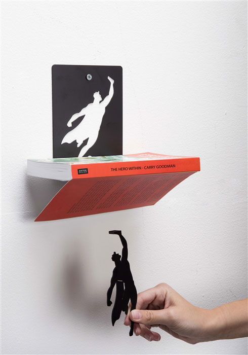 Floating Bookshelves Held Up By Superheroes  by artori design (8)