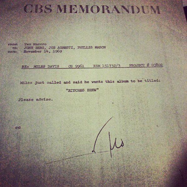 miles davis bitches brew memo letter In 1969 Miles Davis Record Producer Sent This Memo to Columbia Records