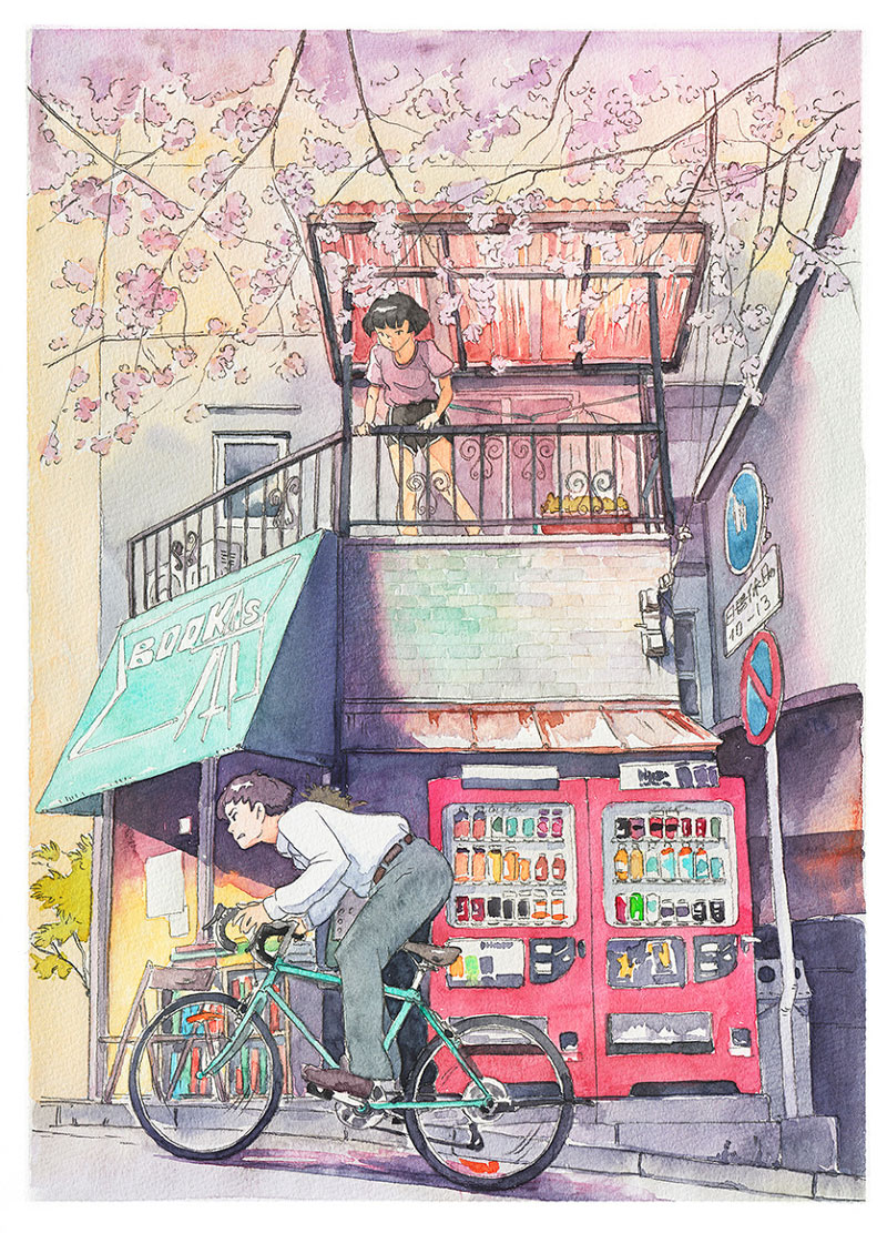 bicycle boy watercolor series by Mateusz Urbanowicz (4)