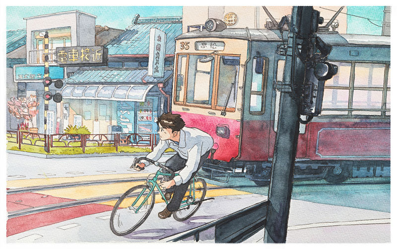 bicycle boy watercolor series by Mateusz Urbanowicz (6)