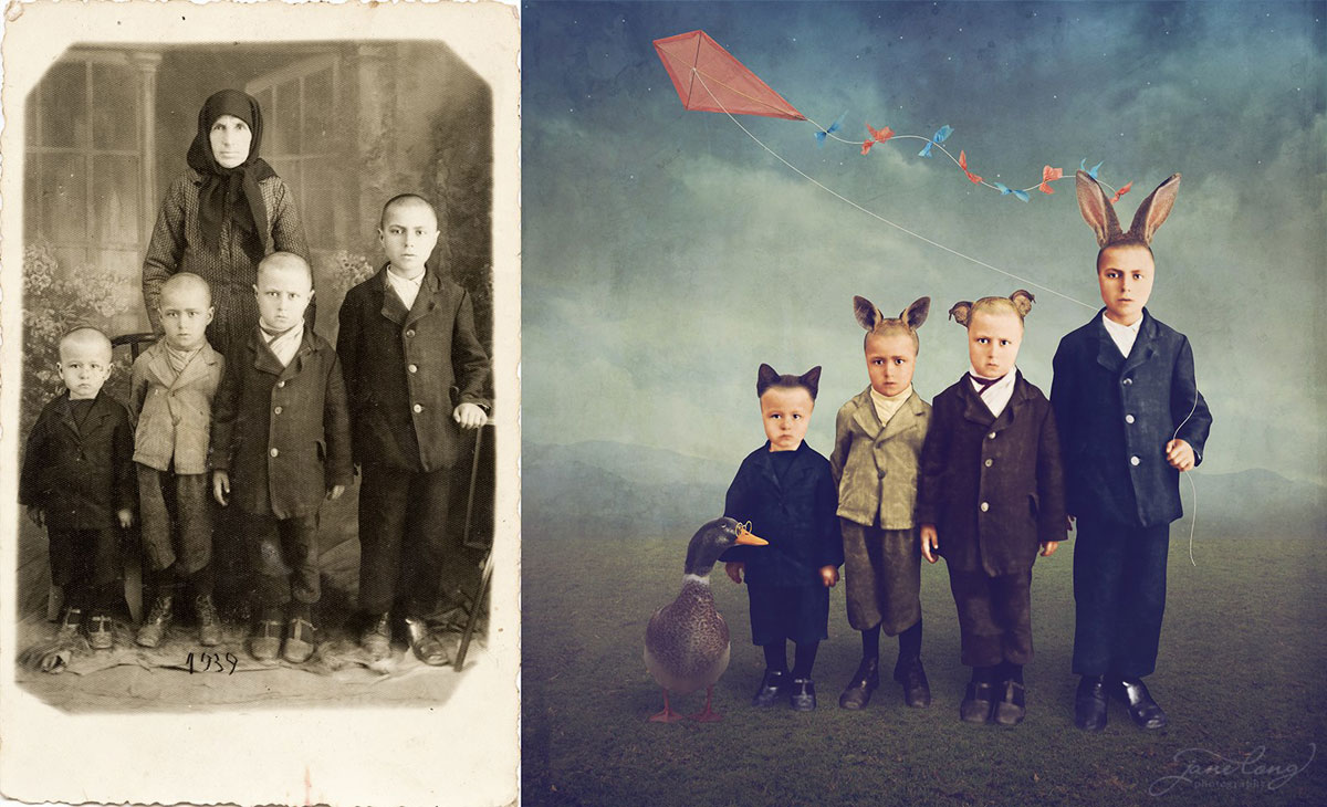 jane long colorizes old photos and adds a surreal twist to them (1)