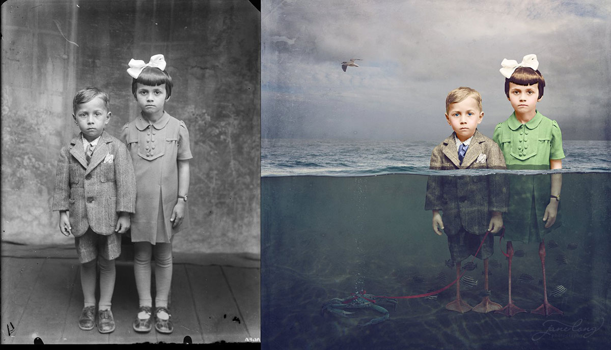 jane long colorizes old photos and adds a surreal twist to them (10)