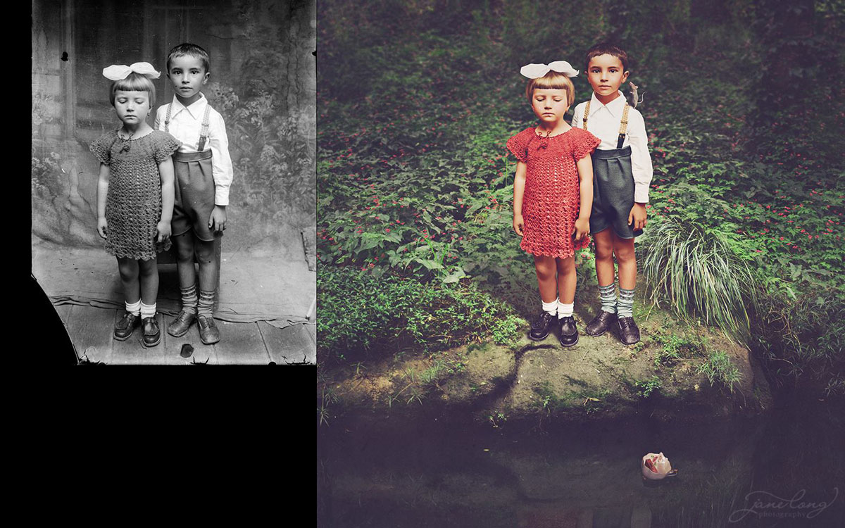 jane long colorizes old photos and adds a surreal twist to them (13)