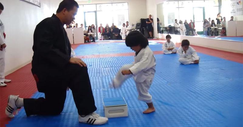 Little Kid (Eventually) Breaks Board to Earn White Belt