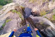 Laso Schaller Sets World Record for Cliff Jumping—at 58.8 Meters (193 ft)
