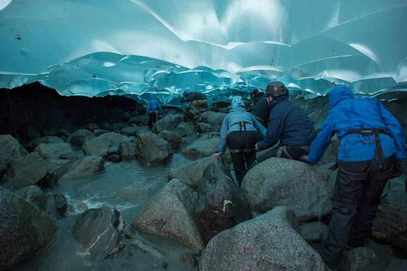 hiking into a mendenhall glacier juneau alaska