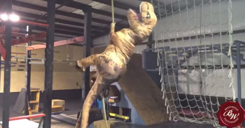 Guy in T-Rex Costume Tears Through American Ninja Training Course