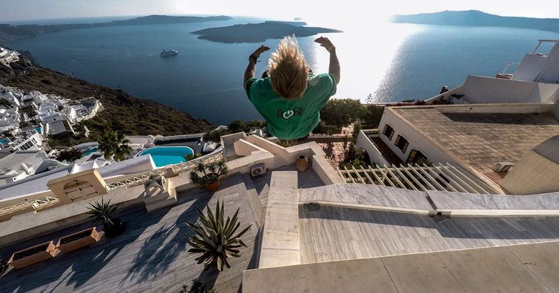 Parkour in Santorini, Greece