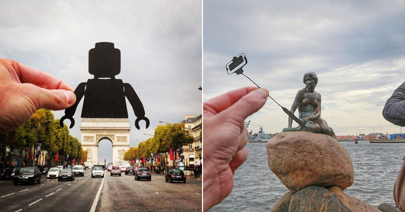 Artist Adds Creative Twist To His Travel Photos with Paper Cut Outs
