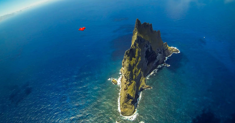 Wingsuit Flying Over the World's Tallest Volcano Stack