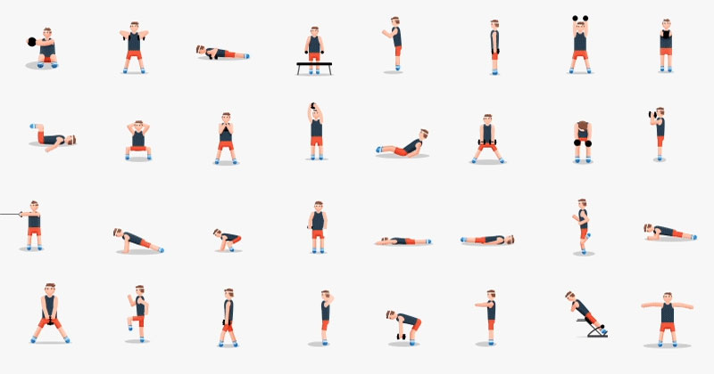 48 exercises in one animated gif