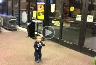 Baby Sees Automatic Sliding Doors for the First Time