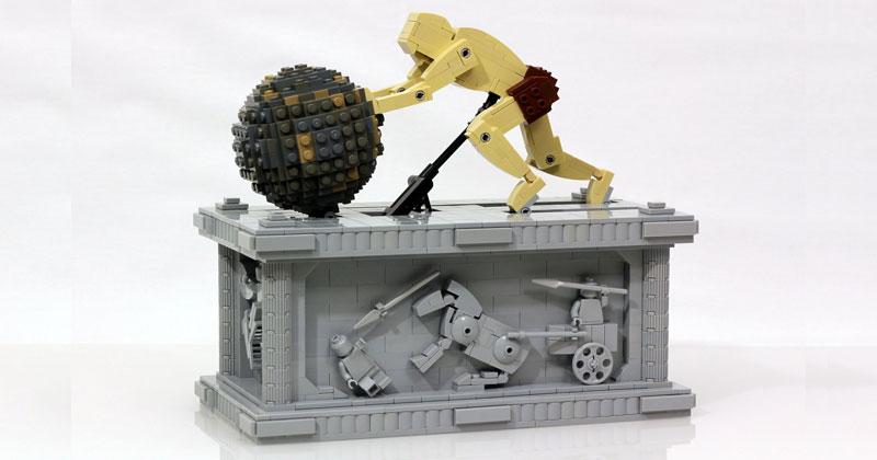 LEGO Sisyphus Pushes Boulder for Eternity