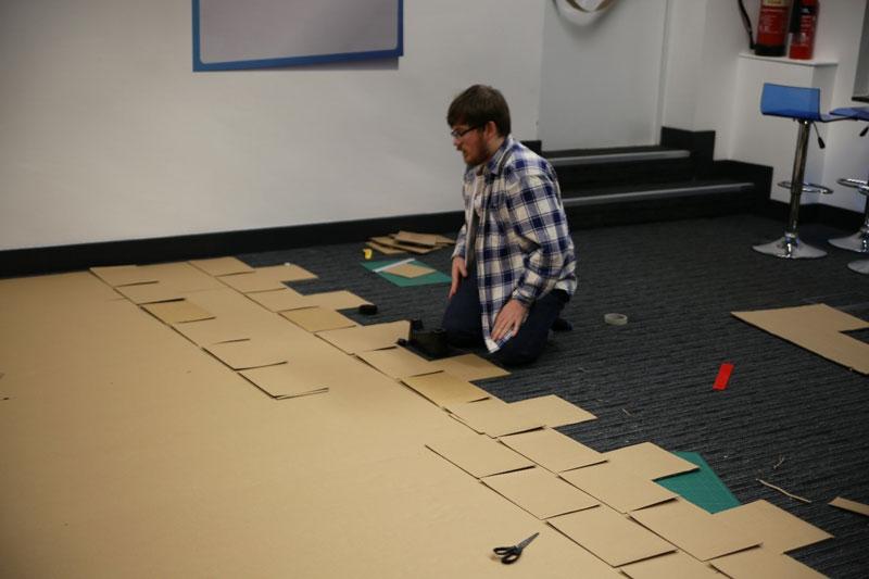 cardboard castle with drawbrdige office cubicle viking (10)