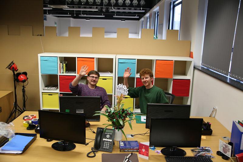 cardboard castle with drawbrdige office cubicle viking (5)