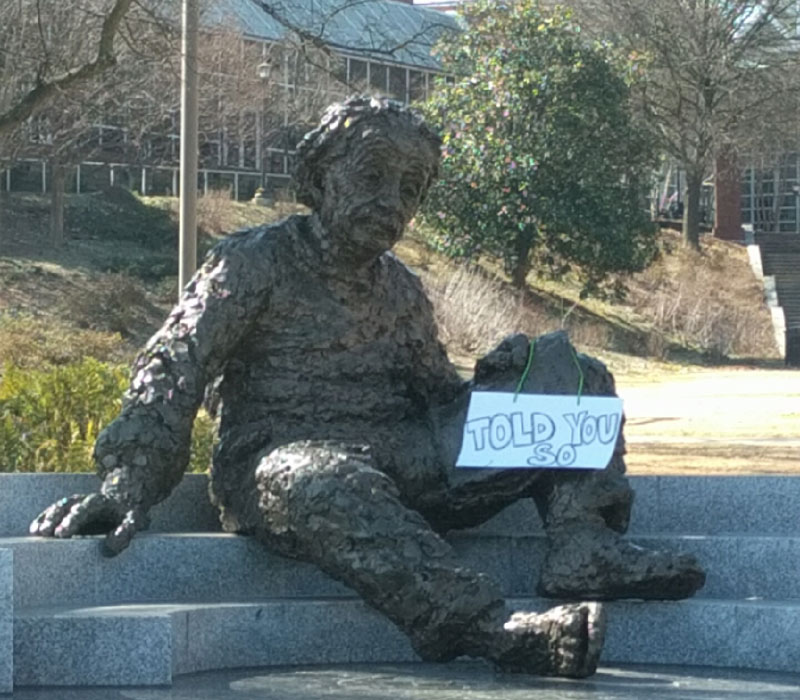 einstein told you so statue sign The Shirk Report – Volume 357
