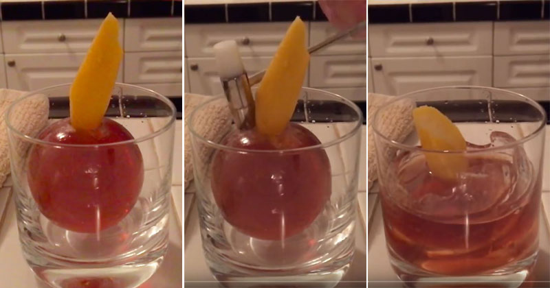 A Cocktail, Inside an Iceball, Freed by a Hammer