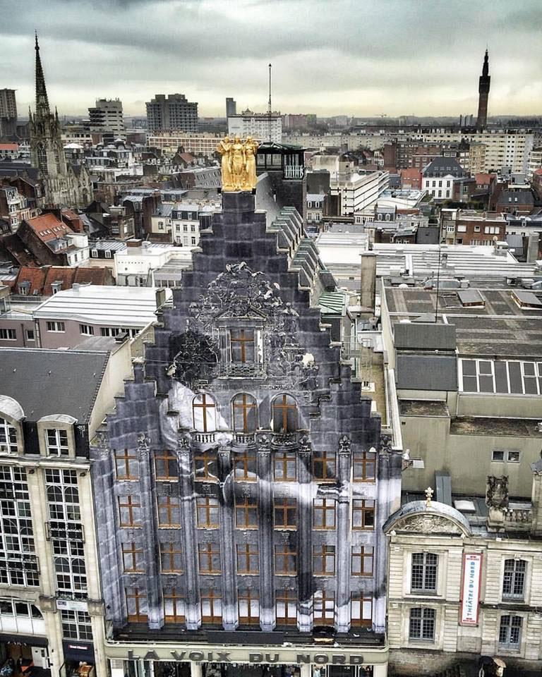jr street art wheatpaste la voix du nord building lille france 2015 Picture of the Day: JR Going Big in Lille, France