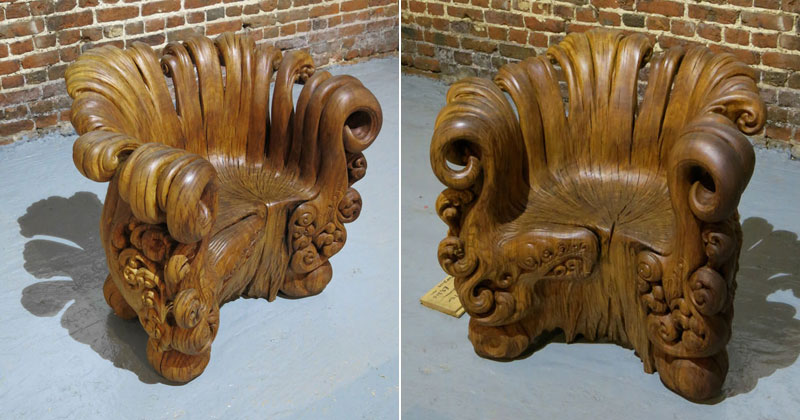 Incredible Chair Carved From Single Oak Stump (12 Photos)