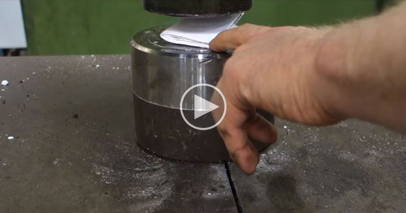 Guy Uses Hydraulic Press to Try and Fold a Sheet of Paper More than 7 Times