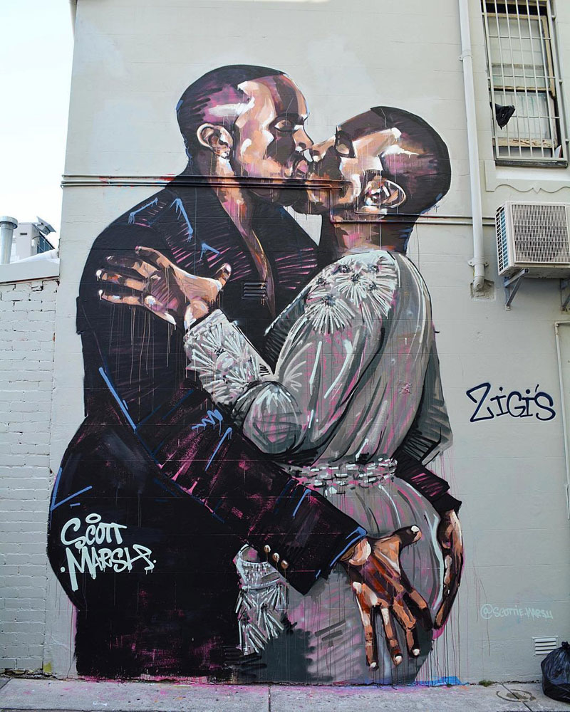 kanye making out with kanye meme street art spray paint mural by scott marsh (1)