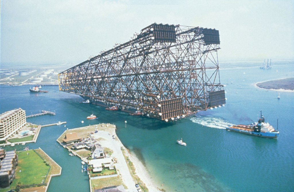 Picture of the Day: Just the Base of an Oil Platform Being Towed Out to Sea