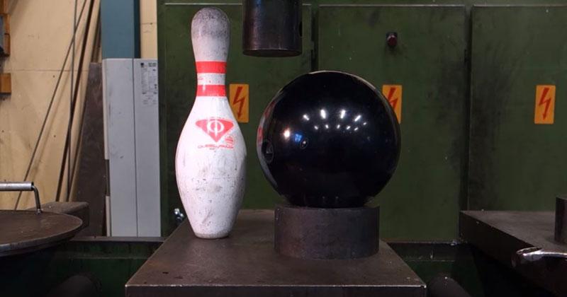 Hydraulic Press vs. Bowling Pin and Bowling Ball