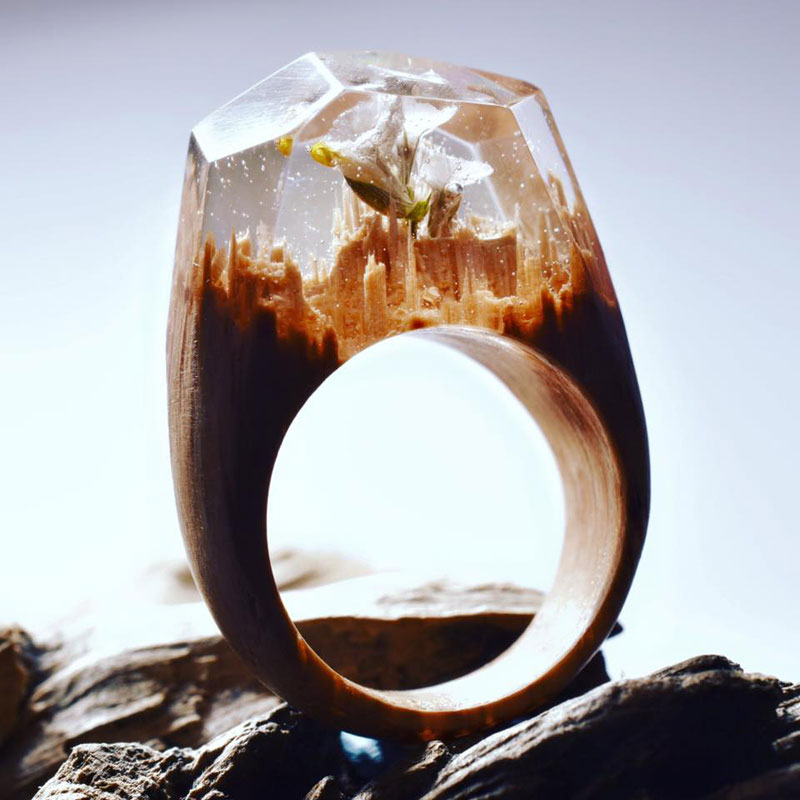 Miniature Landscapes Inside Rings of Wood and Resin by Secret Wood (10)