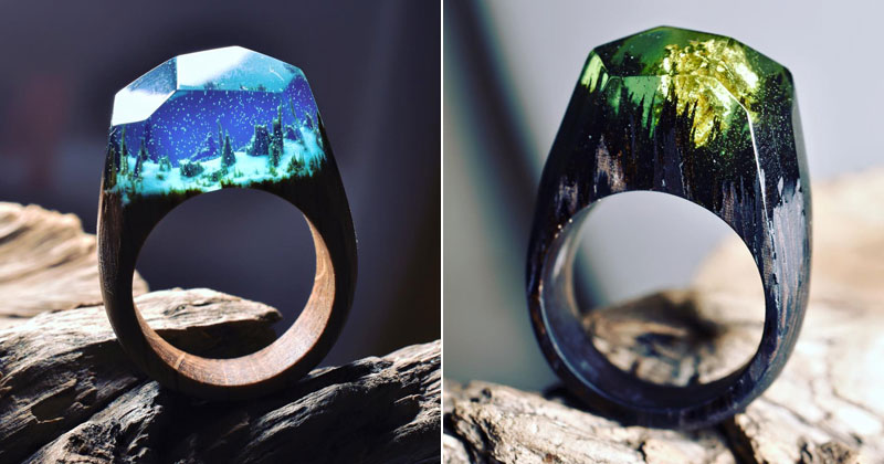 Stunning Miniature Landscapes Inside Rings of Wood and Resin