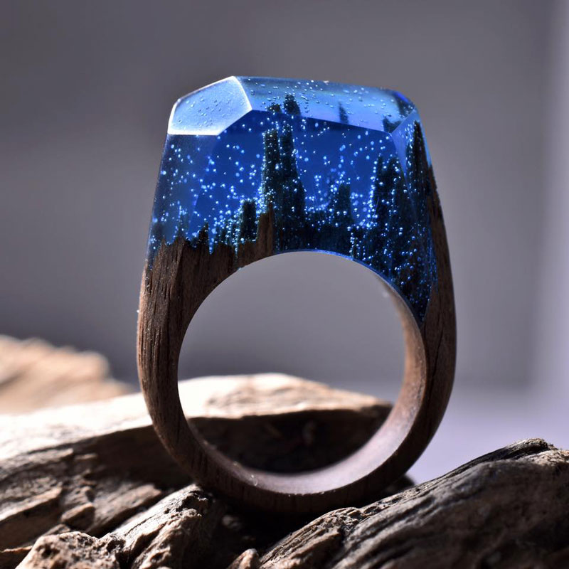 Miniature Landscapes Inside Rings of Wood and Resin by Secret Wood (2)