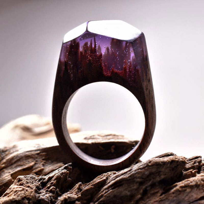 Miniature Landscapes Inside Rings of Wood and Resin by Secret Wood (3)