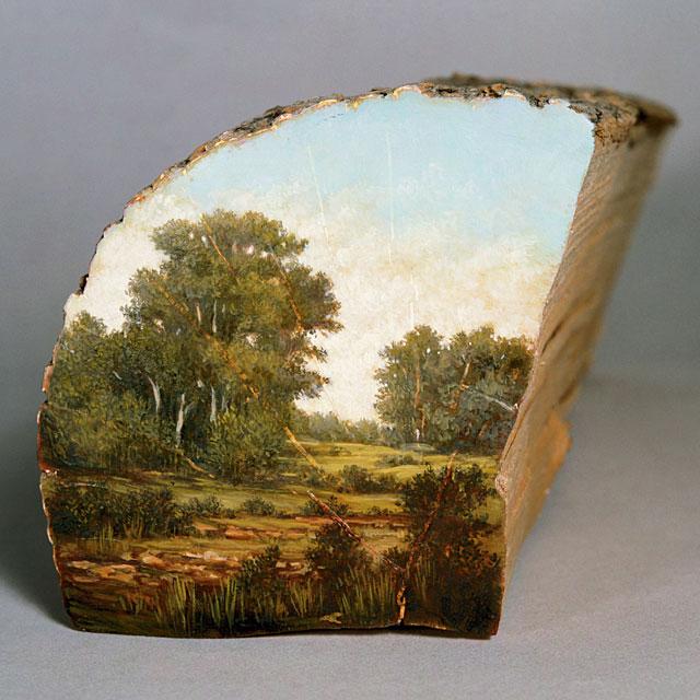 oil paintings on fallen logs by Alison Moritsugu (11)