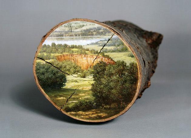 oil paintings on fallen logs by Alison Moritsugu (3)