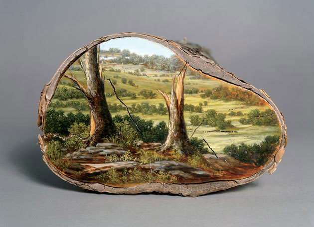 oil paintings on fallen logs by Alison Moritsugu (5)