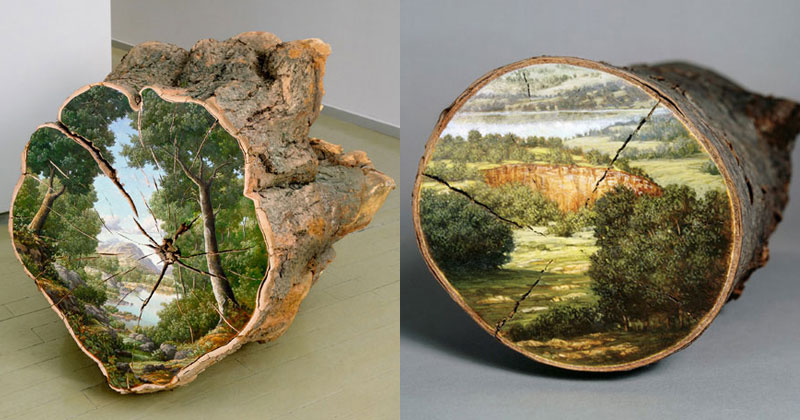 Alison Moritsugu Paints Idyllic Landscapes on Fallen Logs