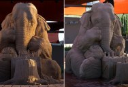This Sand Sculpture of an Elephant Playing Chess with a Mouse is Incredible
