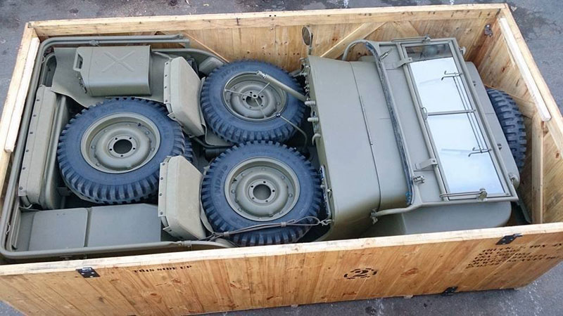 Picture of the Day: A Military Jeep Neatly Packed in a Crate