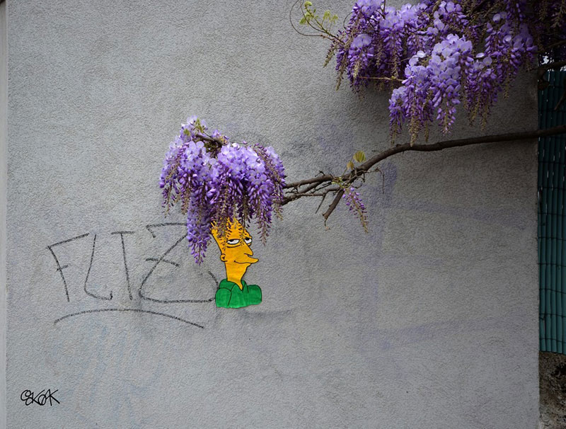 sideshow bob purple flower street art by oakoak Picture of the Day: Subtle Sideshow Bob