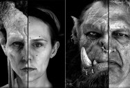 Split Face Portraits of Warcraft Actors and Their CGI Counterpart